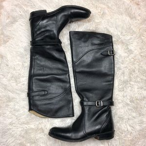 Frye black leather buckle tall riding boots